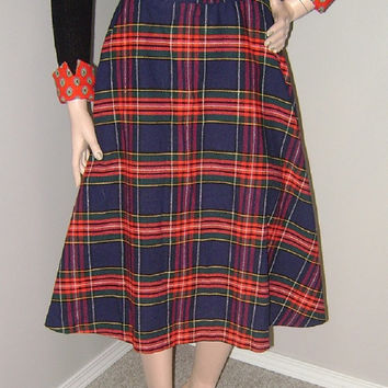 Rockabilly Plaid Circle Skirt, Vintage Tartan Skirt, 1950s Red Navy Tartan, Pinup, Mod, School Girl, Retro 60s Fashion, Mad Men, Peggy Olson