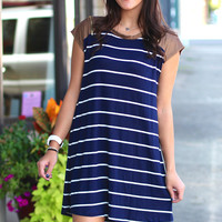 Stripe It Out Dress {Navy}