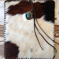 Hair-on-Hide Laced iPad Cover with Turquoise