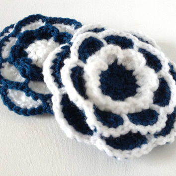 Crochet Flower Brooch, Navy and White, Large Yarn Flower Pin, Acrylic Wool Flower