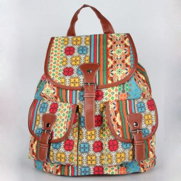 Exotic Ethnic Travel Bag Canvas Lightweight Casual Backpack