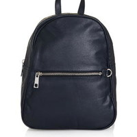 Clean Leather Backpack - Navy Blue