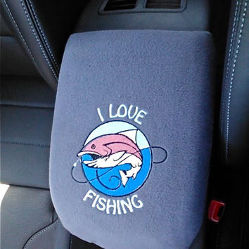 "Center Console Cover Embroidered ""I Love Fishing"" for any Car Truck SUV Armrest Lid Cover"