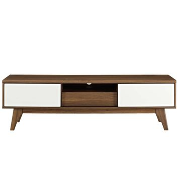 "Envision Mid-Century Modern 59"" TV Stand Walnut / White"
