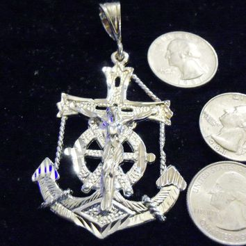 bling sterling silver plated navy usn sailboat sailor cross anchor religious sailing sign symbol hip hop pendant charm 24 inch rope chain necklace trendy sailor seaman fashion jewelry