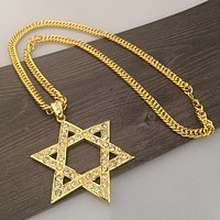 Boys & Men Fashion Hip Hop Six-Pointed Star Necklace