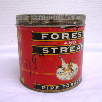 Rare Vintage Old Tobacco Tin Forest and Stream Collectible