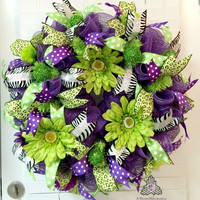 Purple Lime Flower Floral Spring Summer Loop & Curl Deco Mesh Wreath