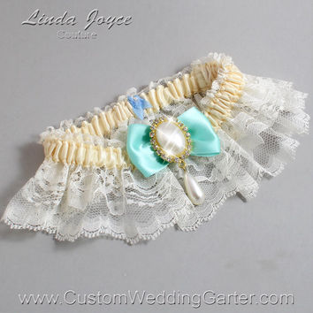 Ivory and Aqua Wedding Garter Lace Bridal Garter 871 Ivory & 314 Aqua Blue Prom Garter Plus Size Queen Size