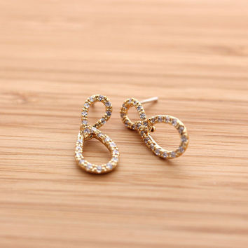 unbalanced INFINITY stud earrings with crystals, 2 colors   girlsluv.it
