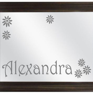 Girls Name Custom Personalized Etched Framed Bar Mirror Glass Pub Signs Man Cave Decor