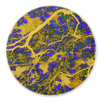 Colourful yellow and blue trees ceramic knob