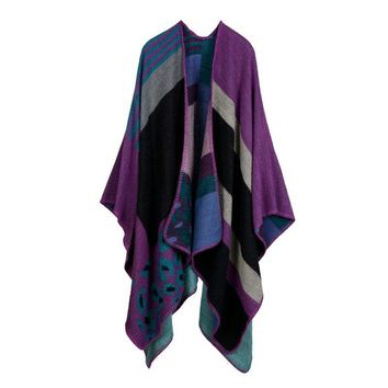 450g women poncho high quality vintage wrap leapord stripe poncho shawls personalized capes fake wool scarfs YOUNGER STORE YG076