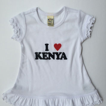 I Love Kenya Sunflower Little Girls Summer Short Sleeve Dress