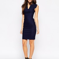 Vesper Sexy Pencil Dress With Plunge Neck And Curved Cap Sleeve at asos.com