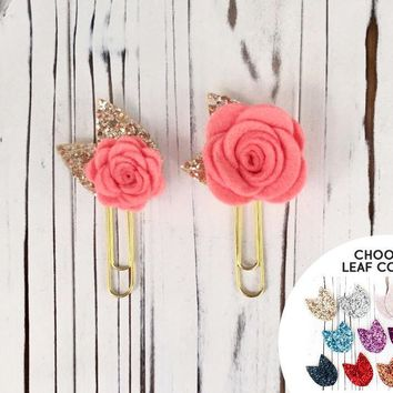 Coral Felt Flower Planner Clip with Glitter Leaves