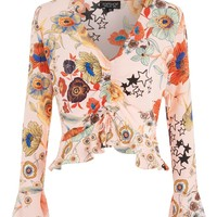 Star & Floral Print Ruched Blouse