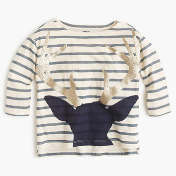 crewcuts Girls Striped T-Shirt With Antlers