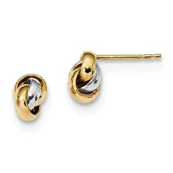 14k Yellow and White Gold Two-Tone Polished Love Knot Post Earrings Length 8.5mm
