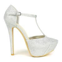 Celeste Sheri-02 T-strap Dress Pump in Silver @ ippolitan.com