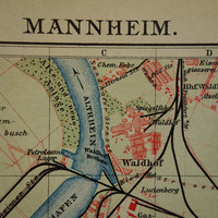 MANNHEIM old map of Mannheim Germany 1904 original antique city plan about Mannheim vintage detailed maps with year date 15x25c 6x10""