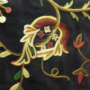 Crewel Embroidery with Botanical Motif  - Black Velvet with Crewel Embroidered Flowers Yardage