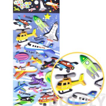 Super Puffy Cars Planes Trucks Spaceships Shaped Stickers for Scrapbooking and Decorating