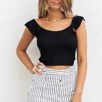 Bringing It Black Ruffle Sleeve Detail Top