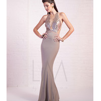 LM by Mignon LM1477 Almond Sexy Halter Fitted Gown Prom 2015