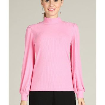 Stand Collar Pure Color Blouses