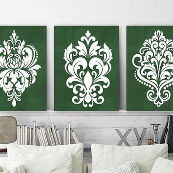 GREEN Bedroom Wall Art, DAMASK Wall Decor, CANVAS or Prints, Green Bathroom Decor, French Country Artwork, Set of 3, Green Home Decor