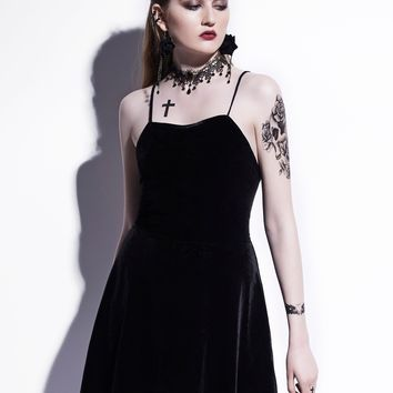 Gothic Mini Dress Black Summer Women Short Dress Velvet Backless Lace-Up Spaghetti Strap A-Line Goth Dresses