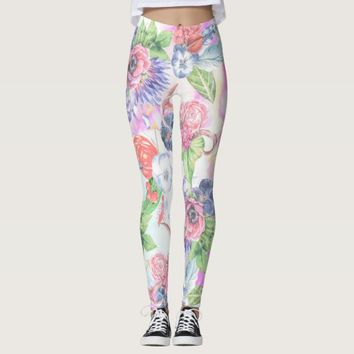 Bohemian Watercolor Flowers Leaves and Antlers Leggings