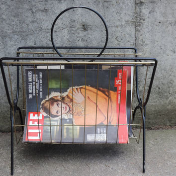 Mid Century Magazine Rack Metal Vinyl Record Holder Black Metal Magazine Rack featuring Gold Tone Metal Insert