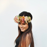 Blush Tones Rose Flower Crown