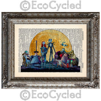 Nightmare Before Christmas 5 Characters on Vintage Upcycled Dictionary Art Print Book Art Print Jack Skellington Sally Sandy Claws