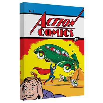 Superman - Action Comics 1 Canvas Wall Art With Back Board