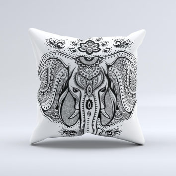 The Vector Sacred Elephant ink-Fuzed Decorative Throw Pillow