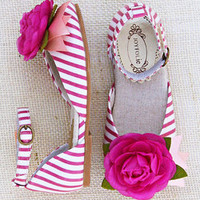 Pink & White Stripe Aubrey Ankle-Strap Flat & Hair Clip - Kids | Something special every day