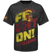 USC Trojans Fight Slant Tri-Blend T-Shirt - Charcoal