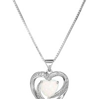 """Sterling Silver, Created Opal, and Created White Sapphire Heart Pendant Necklace, 18"""""""