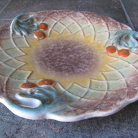 "Redware Autumn Splendor!  1930's Majolica 3 handled 10"" plate, leaf and fruit, brown, gold, green, dark orange"