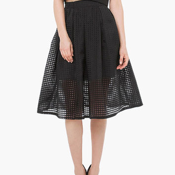 Black Perforated Overlay Pleated Midi Skirt