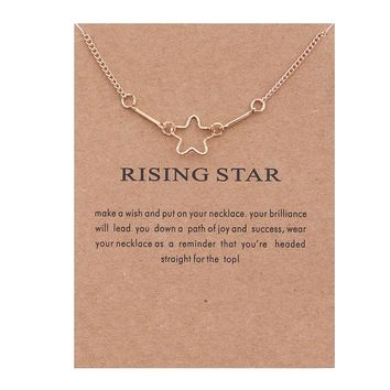 Geometric Hollow Star Card Alloy Clavicle Pendant Necklace 171208