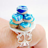 Adjustable Food Ring. Polymer Clay Ring, Mini Food Ring, Filigree Style Ring, Silver Donut Ring, Miniature Food Ring, Ceramic Plate Ring