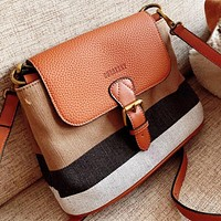 Burberry New fashion leather canvas shoulder bag crossbody bag bucket bag Brown