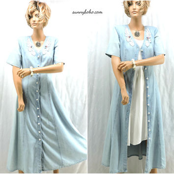 80s denim maxi dress size 6 / 7 retro boho long jean dress / short sleeve denim duster SunnyBohoVintage