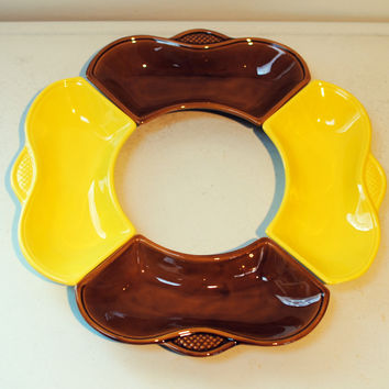 California Pottery chip & dip bowls/lazy susan/ vegetable serving platter in yellow and brown