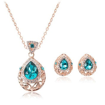 Waterdrop Faux Sapphire Necklace and A Pair of Earrings