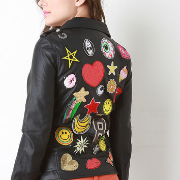 Graphic Patched Back Vegan Leather Moto Jacket